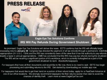 Eagle Eye Tax Solutions Confirms IRS Will Pay Refunds During Government Shutdown